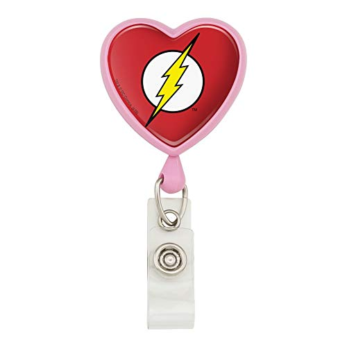 The Flash Lightning Bolt Logo Heart Lanyard Retractable Reel Badge ID Card Holder
