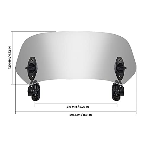 seductive GF Motocicleta Universal Windshield Clamp-on Variable Windseren Spoiler Extension Fit for R 1200GS F800GS Ajuste for Tmax Fit for BMW Fit for Yamaha GJF (Color : Small Grey)