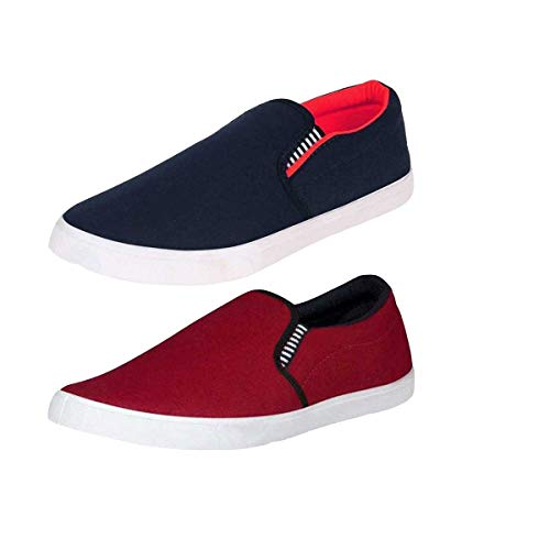 BRUTON Men's Canvas Casual Loafers and Sneakers Shoe (Pack of 2) Red Maroon