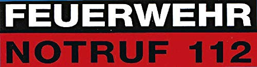 """Auto-Aufkleber Stick Applikation Emblem Aufkleber """"FEUERWEHR NOTRUF 112"""" NEU Gr. ca. 15,5 x 5cm (307784) Feuerwehr Firefighter Rettungshelfer (innen- oder außenklebend)"""