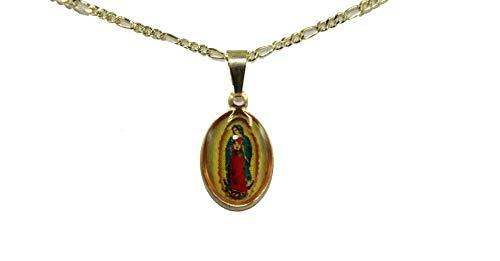 Diamantados of Florida Virgen de Guadalupe Medalla pequeña - Nuestra Señora de Guadalupe Medalla chapada en Oro de 18 K con Cadena de 18 Pulgadas