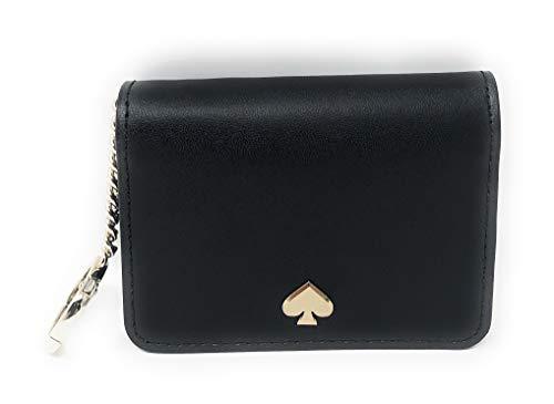Kate Spade New York Slim Bifold Card Holder Case Wallet Key Ring Chain Black