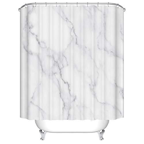 X-Labor Marmor Duschvorhang Anti-Schimmel Wasserabweisend inkl. 12 Duschvorhangringe Badewannevorhang für Badezimmer Weiß 180x180cm