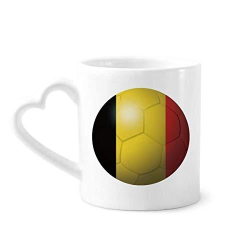 DIYthinker België Nationale Vlag Voetbal Wereldbeker Koffiemokken Aardewerk Keramische Beker Met Hart Handvat 12oz Gift