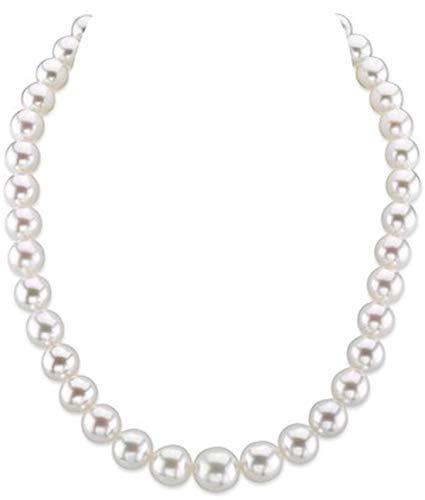 Collana di perle coltivate in mare del sud, 9-11 mm, qualità AAA, lunghezza 50,8 cm, chiusura in oro 14 K e Oro bianco, colore: Oro/Bianco., cod. 1
