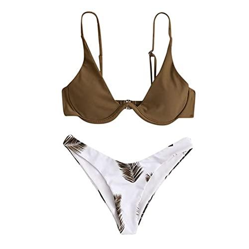 UKKD Bikini Women Print Bikinis Women's Swimwear High Cut High Waisted Halter Bikini Set Two Piece Swimsuit