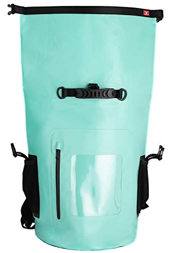 MIER Large Waterproof Backpack Roll Top Dry Bag for Kayaking, Boating, Rafting, Surfing, Swimming, Easy Access Front Zippered Pocket, Padded Back Support and Cushioned Adjustable Straps,40L,Red