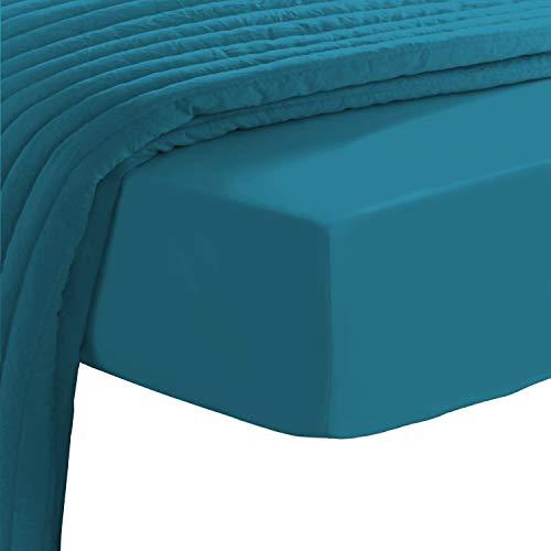 Pizuna 400 Fadenzahl spannbettlaken 110x200-120x200cm Saphir Blau,100prozent Langstapelige Baumwolle Spannbetttuch, Weiche Mako Satin-Webart passt bis zu 40 cm Matratzenhöhe (100prozent Baumwolle bettlaken)