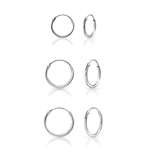 DTPSilver - Set of 3 Pairs of Hoops Earrings in 925 Sterling Silver - Thickness 1.2 mm - Diameter 12, 14 and 16 mm