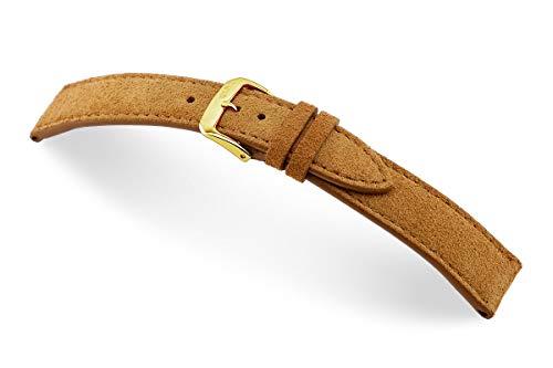 RIOS1931 Franklin 22mm Vintage Velour/Suede Leather Reloj Banda clásico Marrón Claro