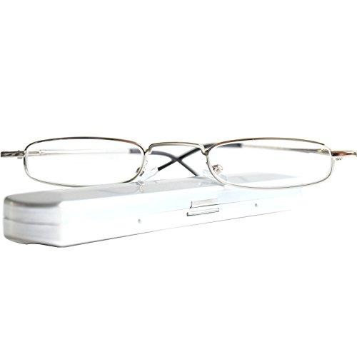 Leichte Metall Mini Lesebrille, Edelstahl Rahmen (Silber), mit GRATIS Slim-Fit Alu Flach Brillenetui, Lesehilfe Damen und Herren +2.0 Dioptrien