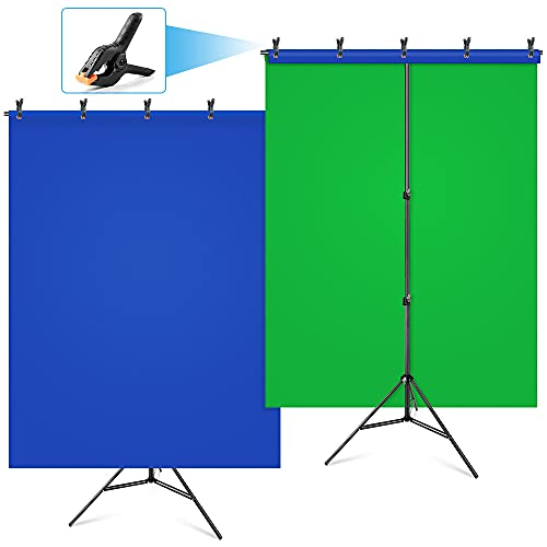 Hemmotop Blue Green Screen Backdrop with Stand Kit 5x6.5ft for Zoom, Revisible Blue Screen Green Screen with Portable T-Shaped Background Support Stand, 5 x Backdrop Clip
