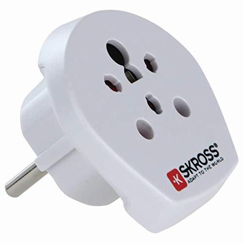 SKROSS 39770 Country Adapter India Israel Denmark to Europe, Schutzkontaktstecker (Typ F, CEE 7/7), Weiß - geeignet für alle geerdeten und ungeerdeten Geräte (2- und 3-polig)