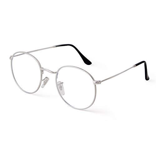 GIFIORE Runde Brille mit Blaulichtfilter Blockieren Blaue Licht für PC, TV, und Handy Trendige Unisex ohne sehstärke Computerbrille