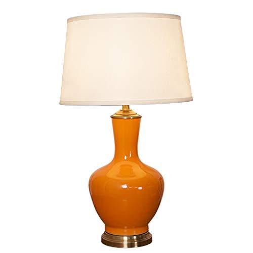LQW HOME Lámparas de Escritorio Americana de cerámica del Dormitorio lámpara de Mesa lámpara de Mesa E27LED Sala de Noche iluminación de la lámpara lámpara de Mesa de cerámica (Naranja) Sin Reflejos
