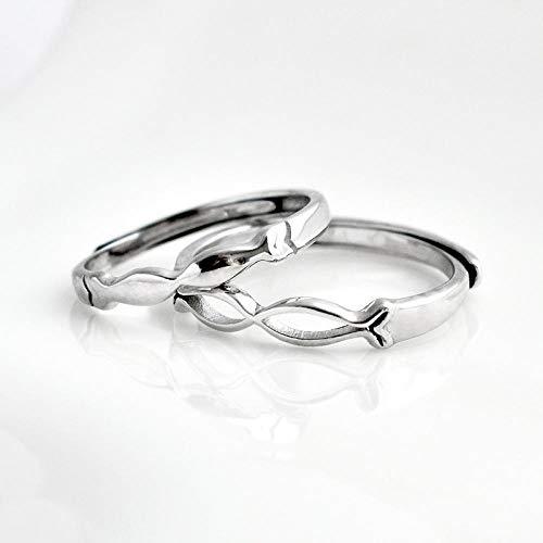 Anillo Ajustable De Plata 925 para Mujer,2Pcs Un Par Ring Beso Piscis Simple Diseño Creativo Regalo De Boda Vestidos De Noche Joyas Partido Presentes De Navidad