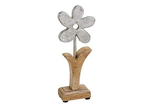 TEMPELWELT Deko Figur Blume Blümchen 22 cm, Mango Holz massiv Natur braun Metall Blüte Alu Silber, Holzdeko Aufsteller Frühling Ostern