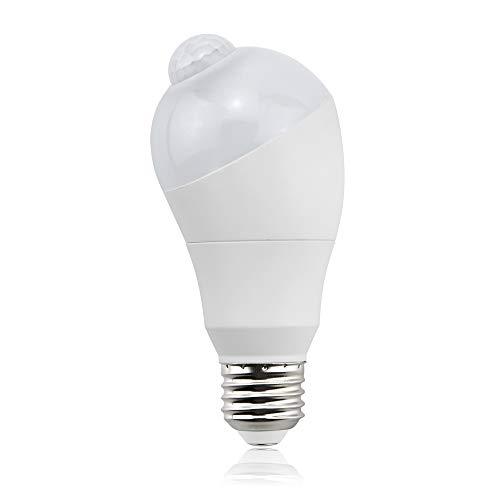 led電球 人感センサー電球 E26 5W センサーライト 50W形相当 自動点灯/消灯 斜め 360度回転 常夜灯 防犯夜灯 省エネ 防犯ライト 昼白色 1個入り