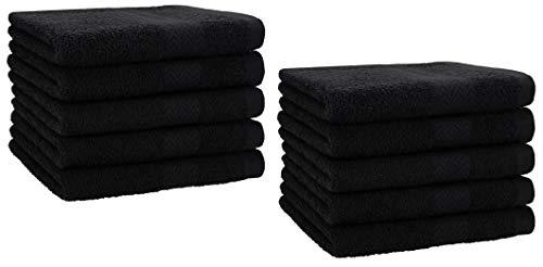 Betz Lot de 10 Serviettes d'invités Taille 30x50 cm 100% Coton Premium Color Noir