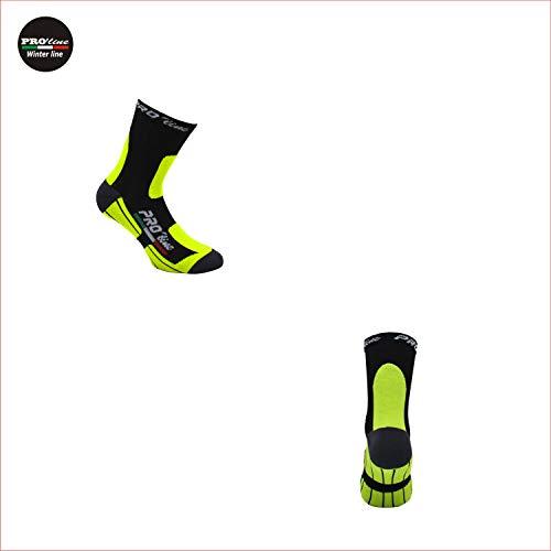 PRO' line Calze Invernali PROLINE Ciclismo MTB Sci Running Giallo Fluo 37/41 42/46 (42/46)