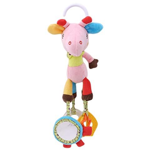 Eleusine Tierrassel Gefüllte Puppe Plüschtier Windspiele Neugeborene Baby Kinder Säuglingsspielzeug (Pink Fawn)