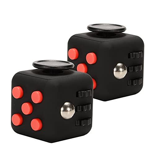 キューブ 解消キューブ 手持ち無沙汰を解消する玩具 手遊び サイコロおもちゃ コンパクト ガジェット ストレス 2枚入 (2枚ブラック&レッド)