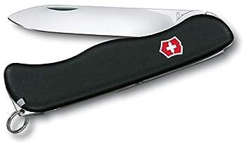 Victorinox Sentinel Couteau de Poche Suisse, Multitool, 4 Fonctions, Grande Lame Fixe, Noir