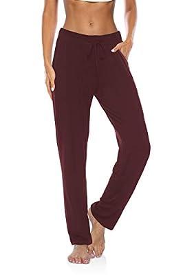 DIBAOLONG Womens Yoga Pants Wide Leg Loose Drawstring Comfy Lounge Workout Sweatpants with Pockets Burgundy L