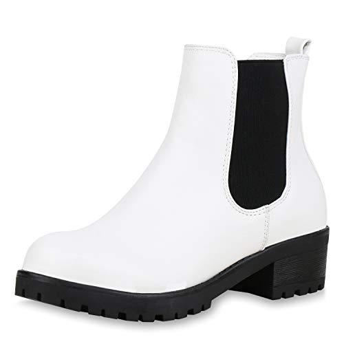 SCARPE VITA Damen Stiefeletten Chelsea Boots Plateau Booties Profil Schuhe 168404 Weiss 37