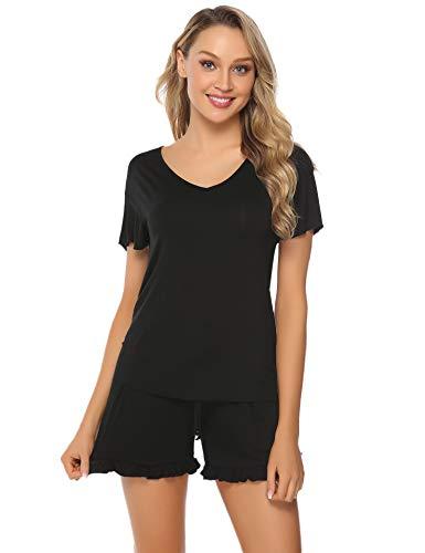 Hawiton Damen Schlafanzug Kurz Baumwolle Sommer Pyjama Nachtwäsche Hausanzug Kurzarm V Ausschnitt,Z-schwarz1,M