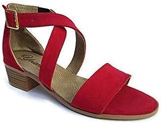 Sandalia de Tacón Bajo Cuadrado y Ancho 4 cm, cruzado con élastico para mujer
