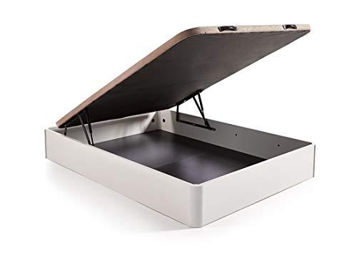 HOGAR24.es. Canapé abatible Madera Gran Capacidad con Tapa 3D y válvulas de transpiración, incorpora esquineras en Madera Maciza, Color Blanco 105X190