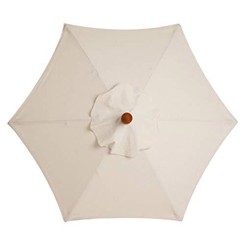 SMLJFO Ersatz-Sonnenschirm-Überdachung mit 6 Rippen, 2,7 m, Markttisch-Regenschirm, wasserdicht, Anti-Ultraviolett-Regenschirm-Ersatzstoff/Beige