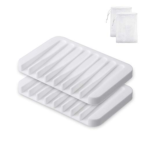 YAKO 2Pcs Soap Dish for Shower, Bar Soap Holder Shower, Soap Saver Tray for Shower Bathroom Kitchen, Premium Flexible Silicone Soap Dishes with Draining Tray, Keep Dry, Non-Slip, Easy Cleaning, White
