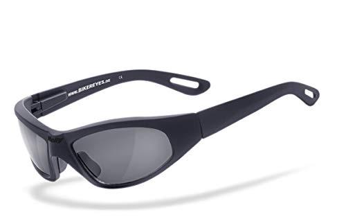 Helly® - No.1 Bikereyes® | Flex-Scharnier, UV400 Schutzfilter, HLT® Kunststoff-Sicherheitsglas nach DIN EN 166 | Bikerbrille, Motorradbrille, Sportbrille | Brille: black angel