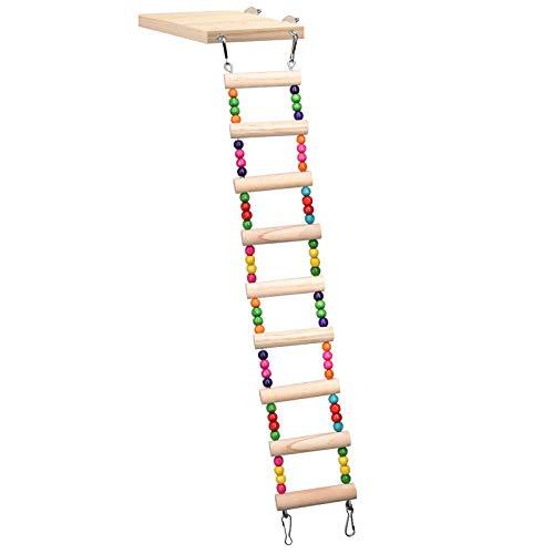 huiingwen Madera loro hámster escalada escalera columpio juego juguetes conjunto, pájaros colgante puente ejercicio perca soporte plataforma jaula accesorios