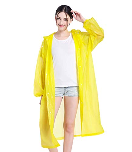 Impermeable amarillo para mujer con Capucha estilo poncho