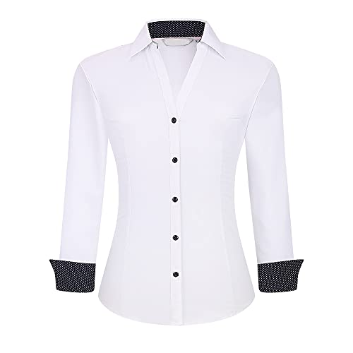 WARHORSEE Womens Button Down Shirt Long Sleeve Work Dress Shirts, V Neck Easy Care Stretchy Business Casual Blouses for Women(White,l)