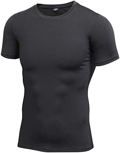 QUETHIKK Compression à séchage Rapide Fitness T-Shirt Running Jersey Vêtements d'entraînement Séchage Rapide Tops Sport Shirt Hommes Gym Shirt XL Noir T-Shirts