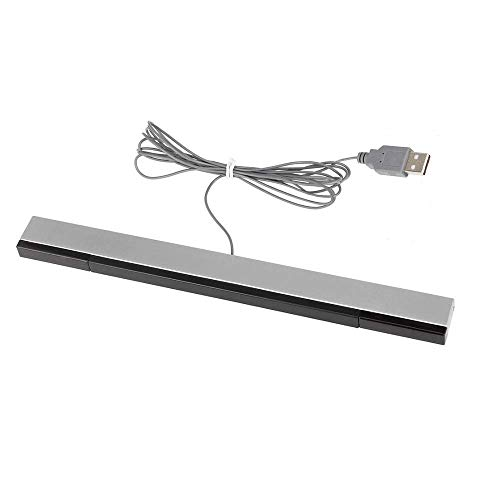USB Wired Wii Sensor Bar, Replacement Infrared Ray Motion Sensor Bar for Nintendo Wii/ Wii U/ PC -Black & Silver