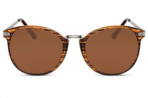 Cheapass Gafas de Sol Redondas Brillantes Montura Tigre con Cristales Marrones Vintage Gafas Diseñador Metálicas Protección UV400 Mujer Hombre