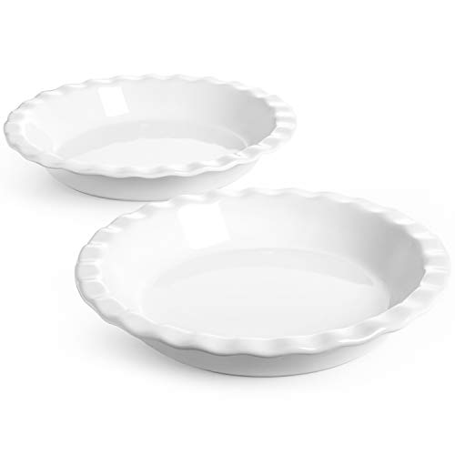 LE TAUCI Ceramic Pie Pans for Baking, 9 Inches Pie Plate for Apple Pie, Round Baking Dish, 36 Ounce Deep Dish Pie Pan, Set of 2, White