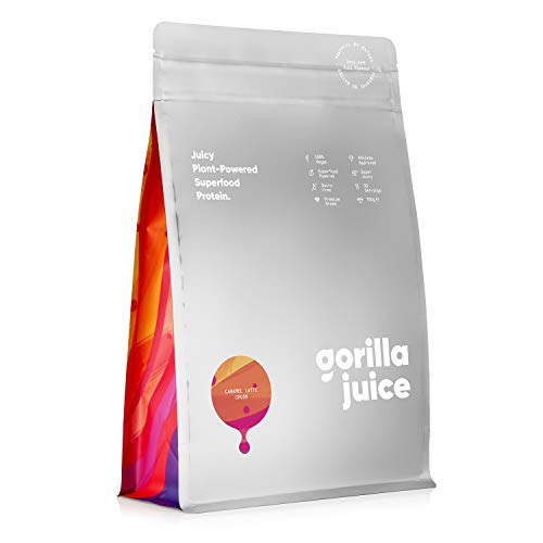 Gorilla Juice Superfood Vegan Protein Powder - Added Superfood Formula - All Natural Plant Based Protein Blend with Pea and Brown Rice Protein - Caramel Latte Flavour 750g (30 Servings)