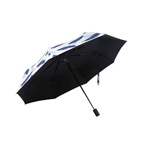 Paraguas Paraguas Pluma Clara Parasol Exterior sombrilla de Vinilo Sol y la Lluvia (Color : Dark Blue)
