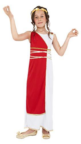 Smiffys Costume da ragazza Greca, rosso, con tunica e copricapo Size: Large Age 10 - 12 years