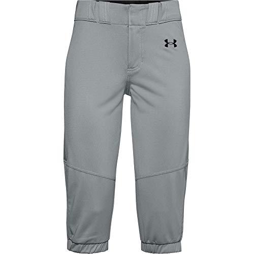 Under Armour Girls' Softball Pants , Baseball Gray (075)/Black , Youth Medium