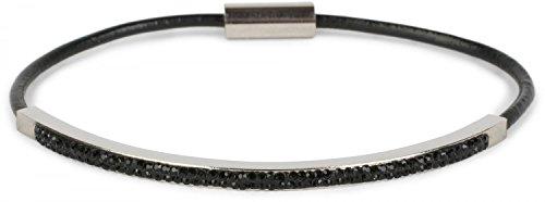 styleBREAKER Armband mit Strass besetztem Edelstahl Schmuckelement, Magnetverschluss, Schmuck, Damen 05040102, Farbe:Schwarz