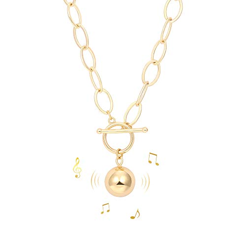 18k Gold Chunky Chain Necklace for Women Harmony Ball Pendant Toggle Clasp Jewelry Gift 20''