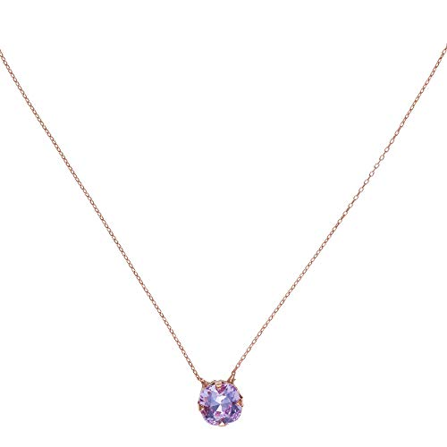 Córdoba Jewels   Gargantilla en Plata de Ley 925 bañada en Oro Rosa con Cristales by Swarovski con diseño Circle Swarovski Lila Rose Gold