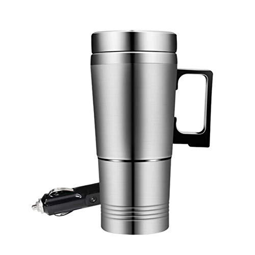 Asudaro Tasse de voyage pour chauffage de voiture, bouilloire électrique de voiture 12 / 24V, tasse à eau thermo en acier inoxydable 300ML, tasse de chauffe-eau électrique dans la voiture